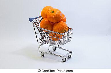 petit, achats, charrette, à, beaucoup,...