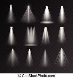 Light sources set on transparent background Spotlight set...