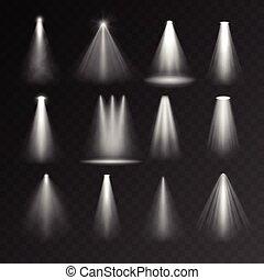 Light sources set on transparent background. Spotlight set...