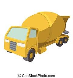 Concrete mixer cartoon yellow symbol Single icon on a white...