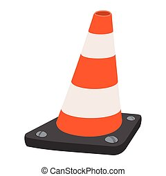 Road traffic orange cartoon cone. Single illustration on a...