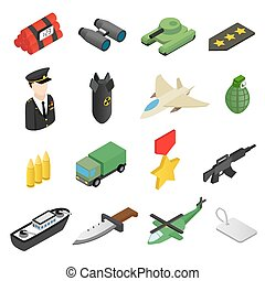 Weapon isometric 3d icons set - 16 weapon isometric 3d icons...