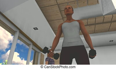 woman working with dumbbells - Simple animation of woman...