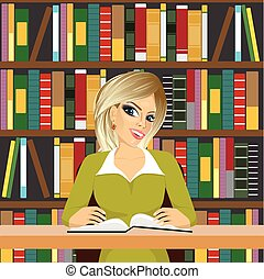 friendly blonde student girl studying in library
