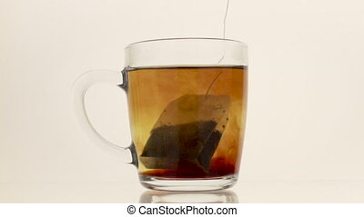Tea bag in hot water on the white background