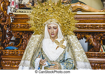 image of the Virgin Mary inside a church Marbella, Andalucia...