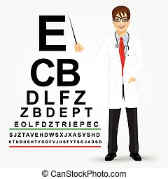 male optician pointing to snellen chart - Handsome...
