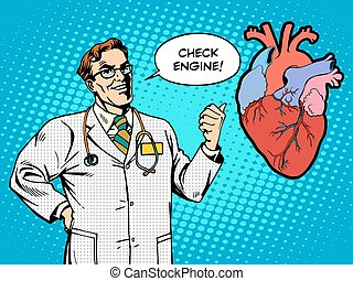 Check engine doctor medicine heart health pop art retro...