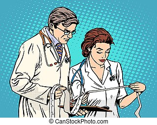 Doctor and nurse looking cardiogram pop art retro style....