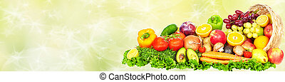 Vegetables and fruits over green background - Fresh...