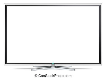 TV Screen. - Non branded Widescreen TV on metal stand. Black...