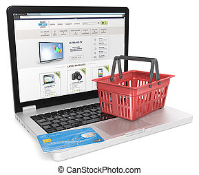 Online Shop. - Laptop with Credit Card and Blue Shopping...