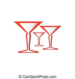 wine or champagne glasses - vector illustration of wine or...