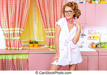 coquette wife - Sexy pin-up girl wearing pink bathrobe...