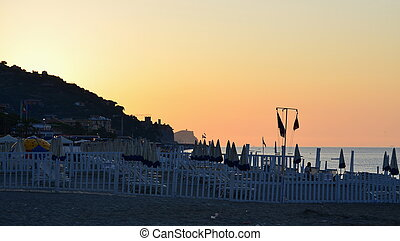 view of the sunrise, the Ligurian Riviera, Finale Ligure,...
