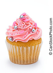 Pink cupcake isolated on a white background