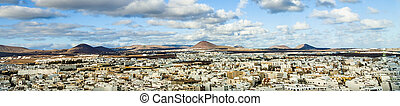view to Arrecife and the volcanos of Lanzarote