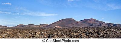 timanfaya,  Lanzarote, nacional, parque, canario, islas, españa