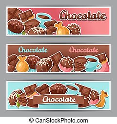 Chocolate horizontal banners with various tasty sweets and...