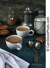 café, con, leche, y, casero, harina de avena,...