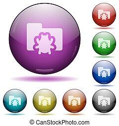 Bug folder, glass sphere buttons