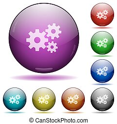 Gears glass sphere buttons - Set of color gears glass sphere...