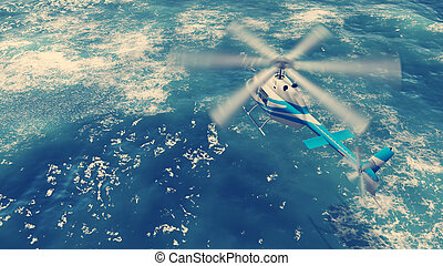 Helicopter flies over ocean waves - Rescue helicopter flies...