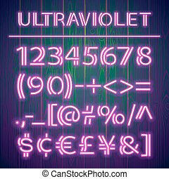 Glowing Ultraviolet Neon Numbers on Wooden Background. Used...