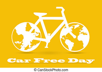 Car Free Day concept illustration. World car free day on...