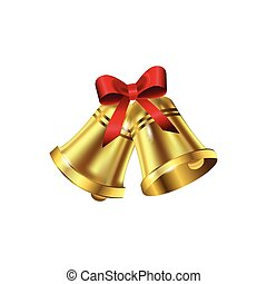 Jingle bells with red bow on a white background Vector...