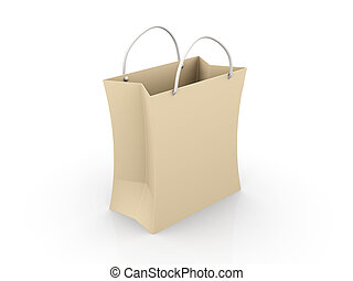 Paper shopping Bag - 3D rendered Illustration Isolated on...