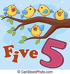 Five yellow birds