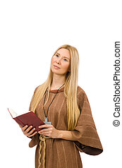 Christian woman isolated on the white