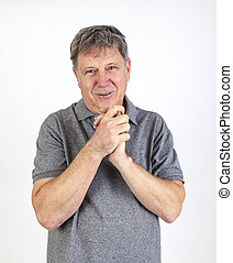 handsome Middle aged  man on white background