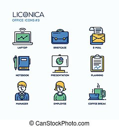 Set of modern office thin line flat design icons and...