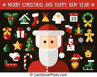 Set of Christmas and Happy New Year flat design icons - Set...