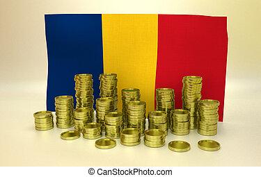 Golden coins and Romanian flag - money concept