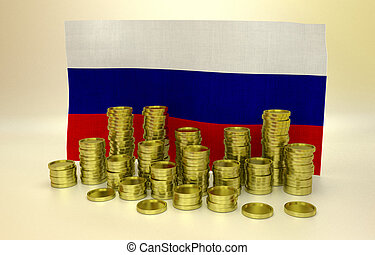 Golden coins and Russian flag - money concept