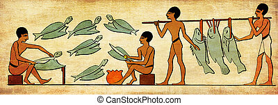 Ancient Egypt costumes and life, fishers clean fishes for food preparation