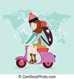 woman riding vespa bike travel around the world map bag flat