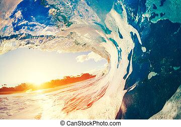 Oceaen Wave at Sunset