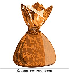 candy in a wrapper - sweet chocolate candy with the wrapper...