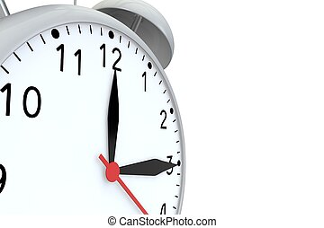 Old alarm clock grey on a white background