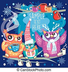 Merry Christmas card with Cute Owls