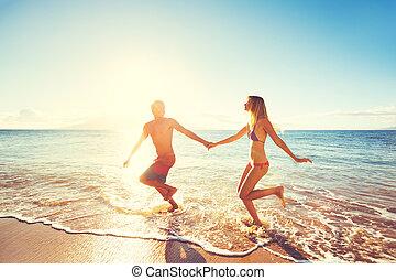 spiaggia, coppia, tramonto, Felice