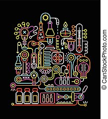 Research Laboratory - Neon colors on a black background...