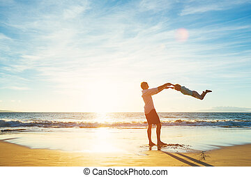 Father and Son Playing Together - Happy Joyful Father and...