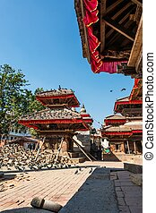 Temple supported by beams. Building damaged by earthquake at...