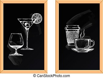 set of alcoholic and soft drinks - Vector illustration of...