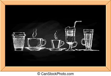 coffee set - Vector set of coffee cups on chalkboard...